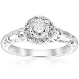 5/8ct Vintage Diamond Halo Filigree Engagement Ring 14K White Gold (G/H, I1-I2)