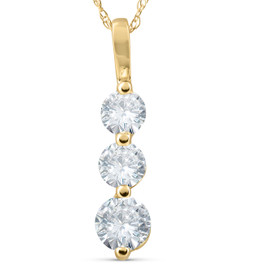 1ct Three Stone Past Present Future Diamond Pendant 14k yellow gold (G/H, I1)