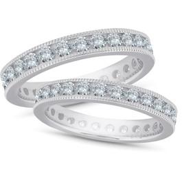 3ct Diamond Eternity Milgrain Wedding Ring Guard Set (G/H, I1-I2)