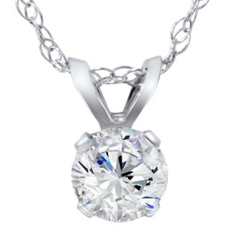 5/8ct Round Diamond Solitaire Pendant 14K White Gold (H/I, I2/I3)