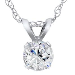 5/8ct Round Diamond Solitaire Pendant 14K White Gold (H/I, I2/I3)