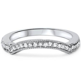 1/6ct Curved Diamond Wedding Band 950 Platinum (G/H, SI1-SI2)