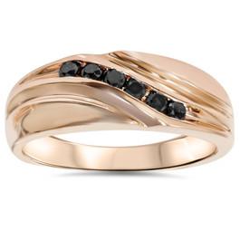 1/4ct Black Diamond Mens 14K Rose Gold Wedding Ring (Black, AAA)