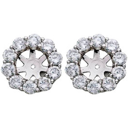 1 1/2ct Diamond Halo Earring Studs Jackets White Gold (6-6.7mm) (G-H, SI)