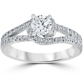 1 1/6ct Twist Diamond Engagement Ring 14K White Gold (G/H, I1-I2)
