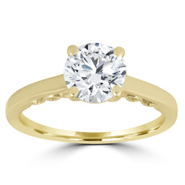 1 ct Diamond Round Brilliant Cut Solitaire Engagement Ring 14k Yellow Gold (G/H, SI1-SI2)