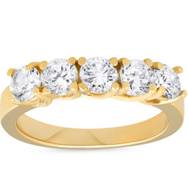 1 1/2ct Real Diamond Wedding Anniversary 14K Yellow Gold Ring (G/H, I1)