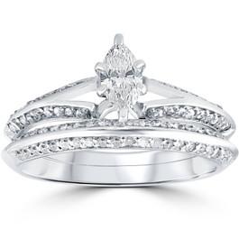 3/4 ct Marquise Diamond Engagement Wedding Ring Set 14k White Gold (H/I, I1-I2)