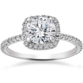 2 1/2ct Round Diamond Cushion Halo Engagement Ring 14K White Gold ((G-H), (I1))