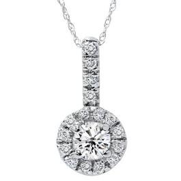 White Gold 3/4ct Diamond Pave Halo Solitaire Diamond Pendant (G/H, SI)