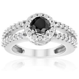 3/4ct Halo Split Shank Black & White Diamond Ring 14K White Gold (H/I, I2)