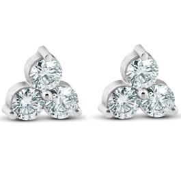 1ct Three Stone Diamond Studs 14K White Gold (J-K, I1-I2)