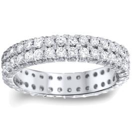 2ct Double Row Diamond Eternity Ring 14K White Gold (H/I, I1-I2)