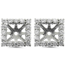 1 1/4ct Princess Cut Diamond Halo Earring Jackets White Gold (5.5-6mm) (G-H, I1)