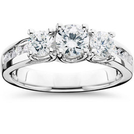 1 3/4CT 3 Stone Diamond Engagement Ring 14K White Gold (G/H, I1-I2)