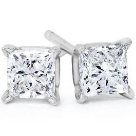 1/4ct Princess Cut Diamond Studs 14K White Gold (G/H, SI2-SI3)