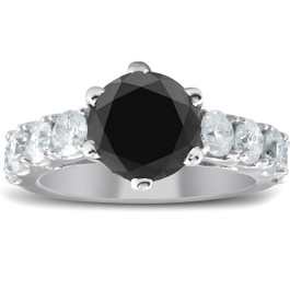 4 1/2 Carat Black & White Diamond Engagement Ring 14K White Gold (H/I, I1-I2)
