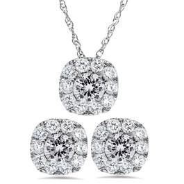 2 1/10ct Cushion Halo Diamond Studs & Pendant Matching Set 14K White Gold (I-J, I2-I3)