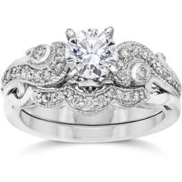 Emery 3/4Ct Vintage Diamond Engagement Wedding Ring Set 14K White Gold (H/I, I1)