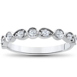 1/3Ct Stackable Diamond Wedding Ring 14K White Gold (H/I, I1-I2)