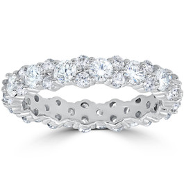 1 7/8 cttw Diamond Eternity Wedding Ring Stackable Band 14k White Gold (H, I1)