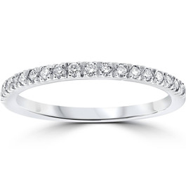 1/4ct Pave Lab Created Diamond Wedding Ring 14K White Gold (F, VS)