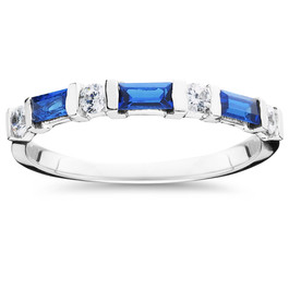 5/8ct Blue Sapphire & Diamond Wedding Stackable Ring 14K White Gold (G/H, I1)