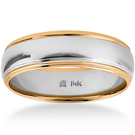 Mens 14k Gold Two Tone 6mm Plain Comfort Wedding Band