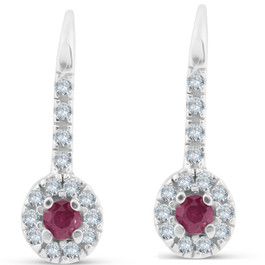 1/4ct Ruby & Diamond Drop White Gold Earrings 14K White Gold (G/H, I2)