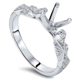 1/4ct Sculptural Diamond Engagement Ring Setting 14K White Gold (H/I, I1-I2)