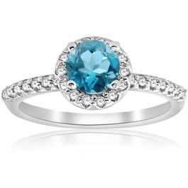 7/8ct Blue Topaz & Diamond Round Halo Engagement Ring 14K White Gold (G/H, I1-I2)