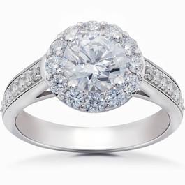 Diamond Halo 2 Carat Engagement Ring Solitaire Round Brilliant 14k Gold Enhanced (H/I, I1-I2)