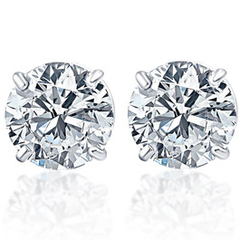 1 1/2ct VS Quality Round Brilliant Cut Natural Diamond Stud Earrings In Solid 950 Platinum (G/H, VS2-SI1)