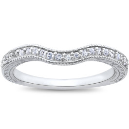 1/6ct Unique Curved Diamond Wedding Ring 14K White Gold (G/H, SI1-SI2)