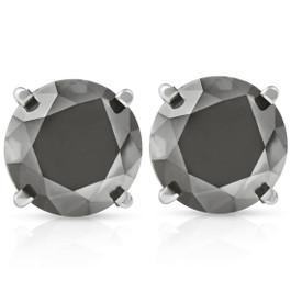 3 TCW 14k White Gold Round Black Diamond Stud Earrings (Black, AAA)