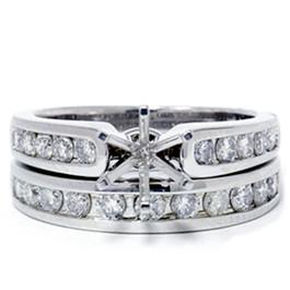 1ct Diamond Engagement Matching Wedding Ring Setting 14K White Gold (G/H, I1)