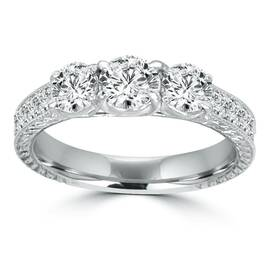 1ct Vintage Three Stone Round Diamond Engagement Ring 14K White Gold (H/SI2) (H, SI)