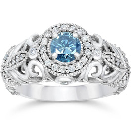 3/4ct Blue & White Diamond Vintage Halo Engagement Ring 14K White Gold (G/H, I1-I2)