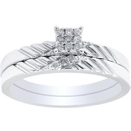 Diamond Engagement Matching Wedding Ring Set 14K White Gold (G/H, I2-I3)