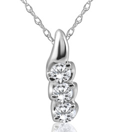 1/3ct Three Stone 3 Diamond Pendant 14K White Gold (H, I2)