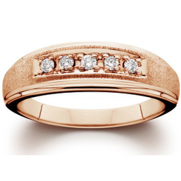 Mens Diamond Ring 14K Rose Gold (H/I, I1-I2)