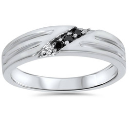 Black Diamond Mens Wedding Band Ring 14k White Gold (Black, AAA)