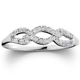 1/10ct Petite Diamond Infinity Ring 10K White Gold (G/H, I2-I3)