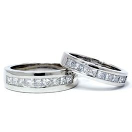 2ct Princess Cut Diamond Matching Wedding Ring Set (G/H, SI)