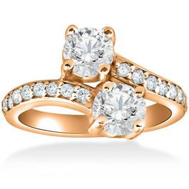 2 cttw Forever Us 2-Stone Diamond Engagement Forever Us Ring 14k Rose Gold (G/H, I1-I2)