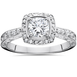 7/8ct Vintage Sculptural Diamond Cushion Halo Engagement Ring 14K White Gold (G/H, I1-I2)