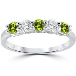1/2CT Peridot & Diamond 5 Stone Ring 14k White Gold (G/H, I1-I2)