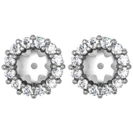1/2ct Halo Diamond Earring Jackets 14K White Gold (5-5.5mm) (G-H, I1)