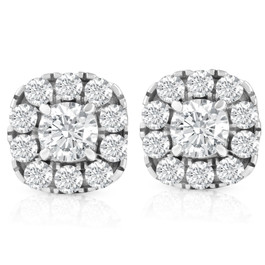 1 3/8ct Cushion Halo Diamond Studs 14K White Gold (I-J, I2-I3)