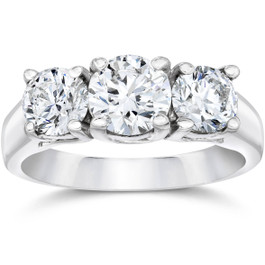 1 3/4ct Three Stone Round Cut Diamond Engagement Ring 14k White Gold (F, VS)